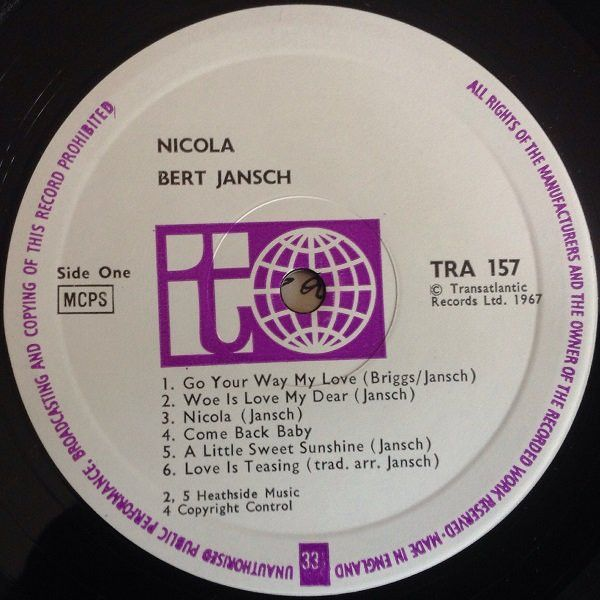 <em>Nicola</em> LP side one